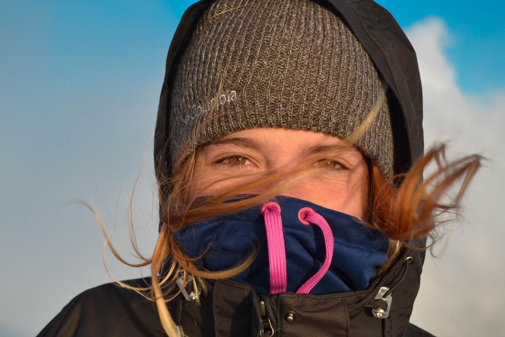 Windy summit with Hélène
