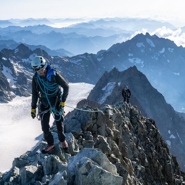 Alpinists reaching Barre des Ecrins (4101m)