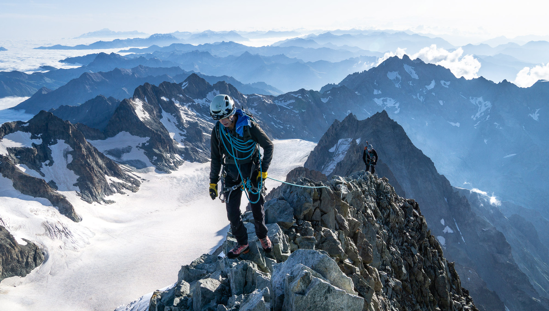 Rope Team reaching the summit of Barre des Ecrins