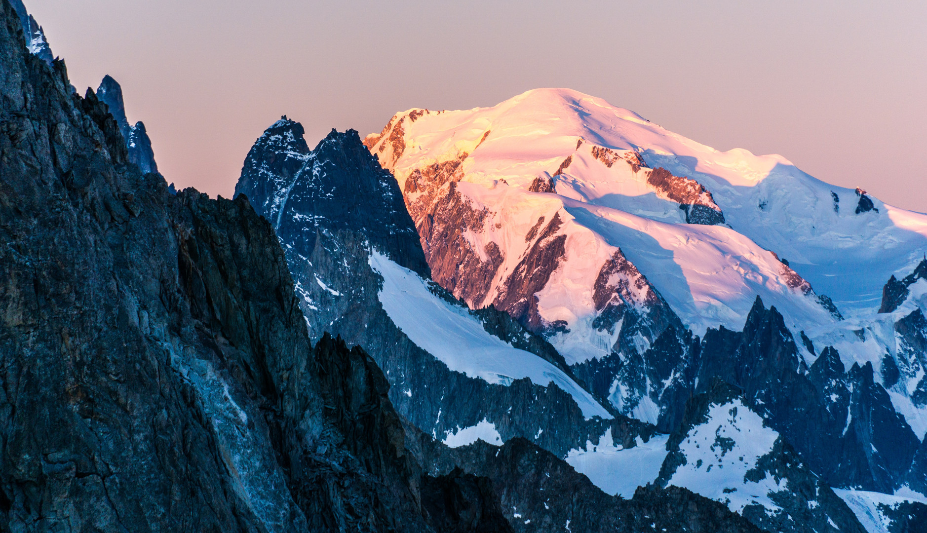 First lights on Mont Blanc