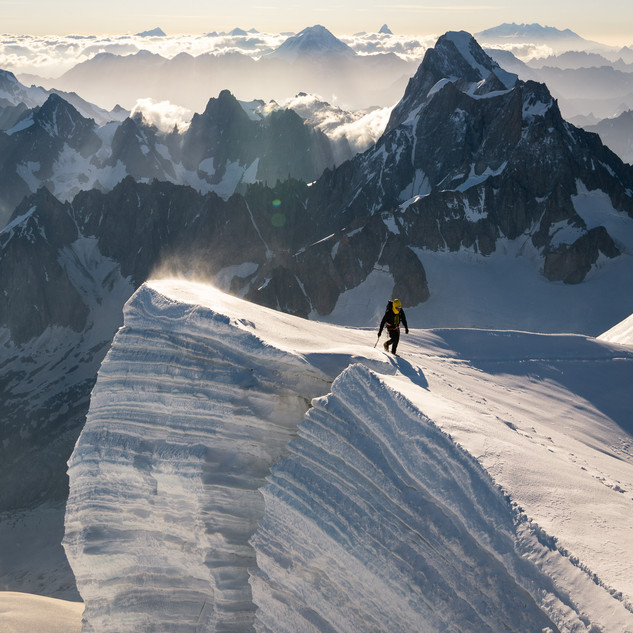 Adrien facing Giants from Mont Blanc du Tacul (4248m)