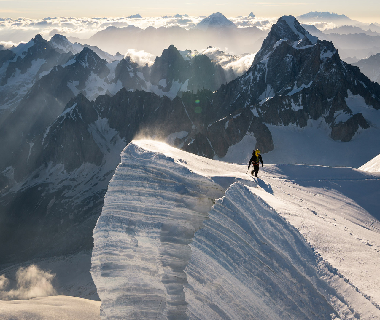 Adrien facing Giants from Mont Blanc du Tacul
