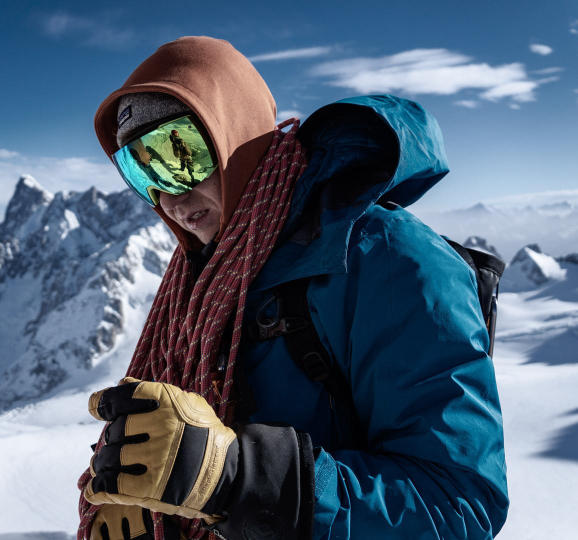 Freezing cold on the famous Cosmiques Ridge