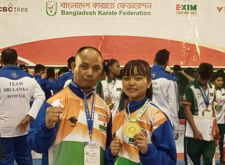 Wandahunshisha Mawblei wins gold at the South Asian Karate Championship