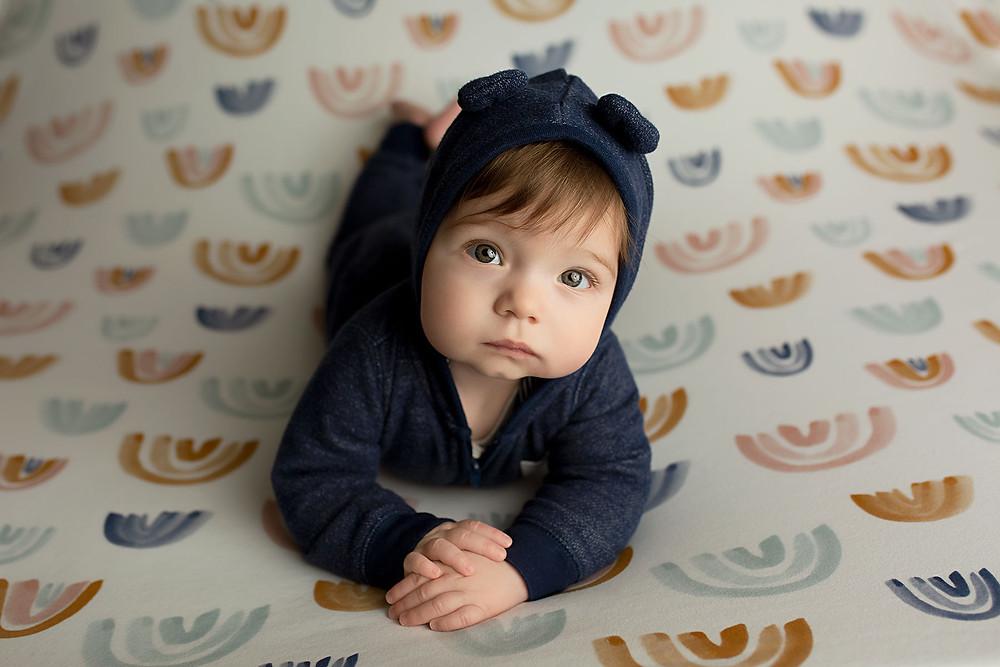 Baby boy blue bear romper with rainbows