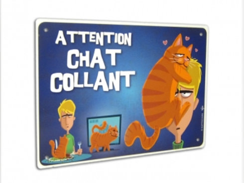 Panneau Attention Chat Collant