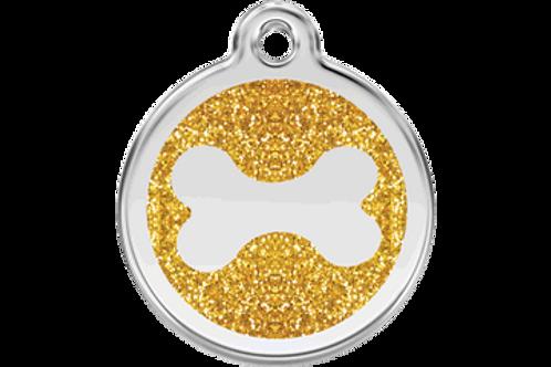 """Médaille pailletée """"bone"""" Red Dingo / 7 couleurs possibles"""