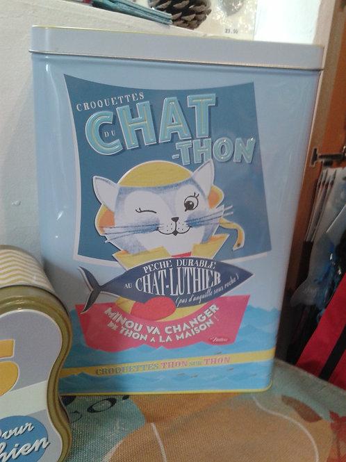 Boîte métal croquettes chat-thon