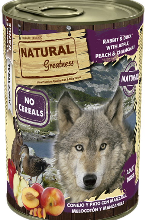 Natural Greatness Lapin Canard Pomme Pêche 400 gr