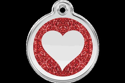 """Médaille pailletée """"heart"""" Red Dingo / 7 couleurs possibles"""