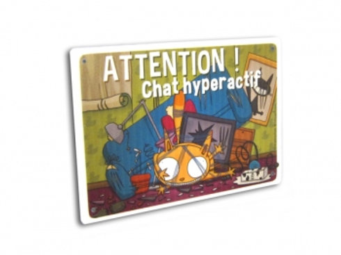 Panneau Attention Chat Hyperactif