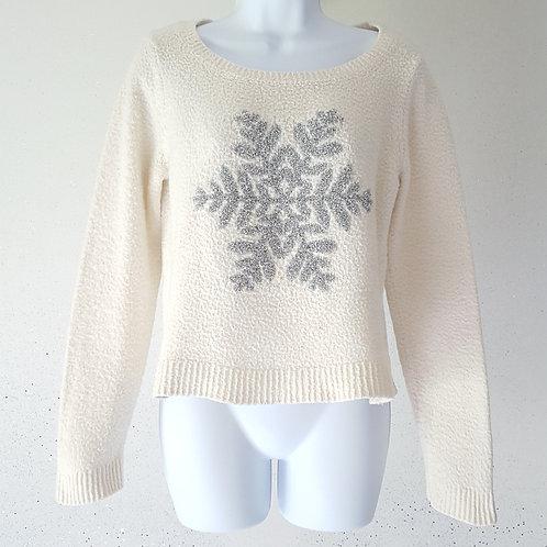 Womens silver snowflake white knit sweater