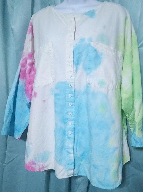 Womens xl Tie Dye Button Down Shirt