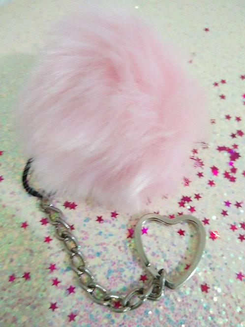 Pink Puffball Keychain