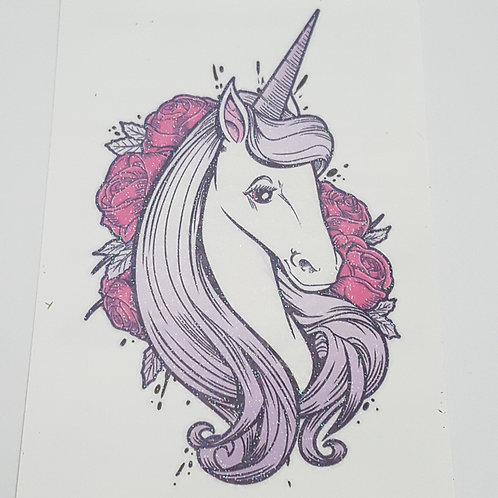 Unicorn in roses temporary tattoo