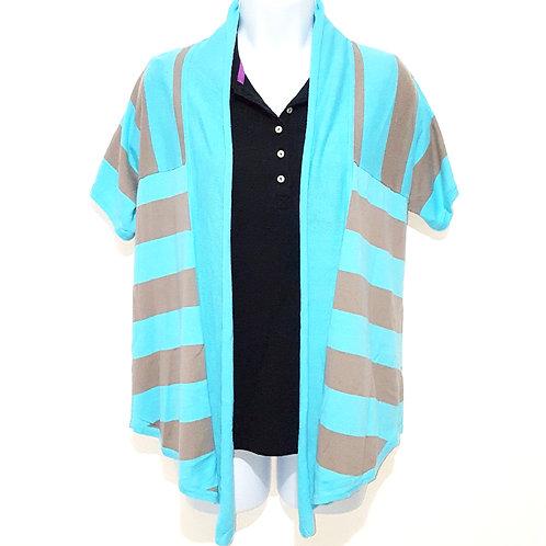 Womens blue & gray striped cardigan