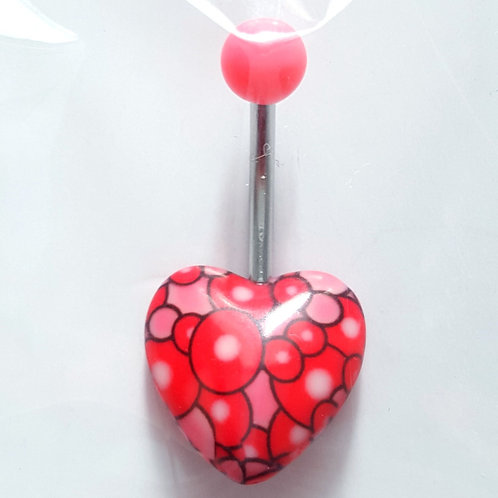 Bubbly heart 14G belly ring