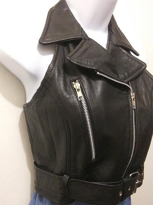 Womens M Leather Racerback Vest