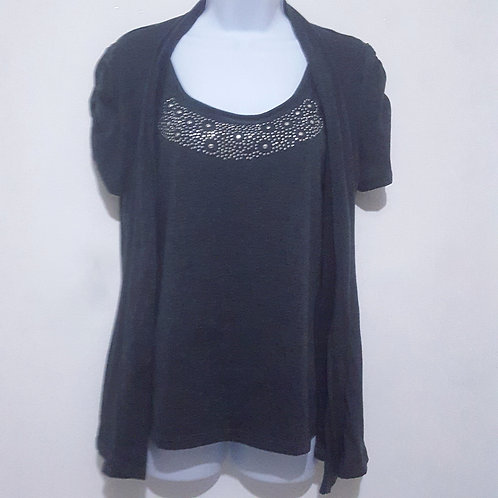 Womens Gray Cardigan and Tank Top