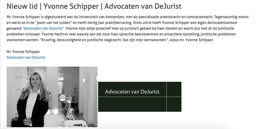 Nieuw MKB-lid | Yvonne Schipper | Advocaten van DeJurist