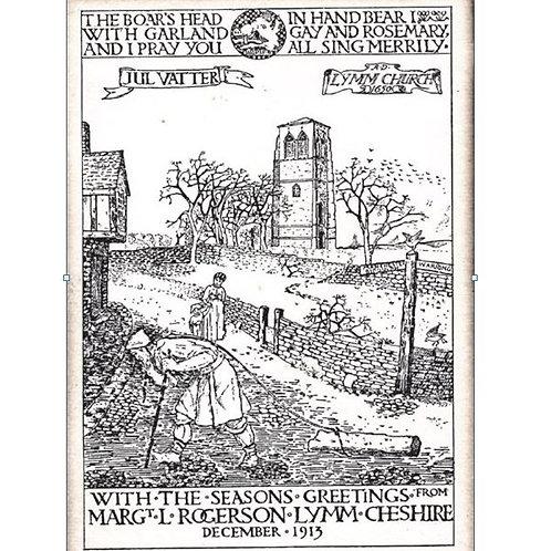 Xmas Card - Based on  original 1913 Lymm Xmas card - PACK of 10