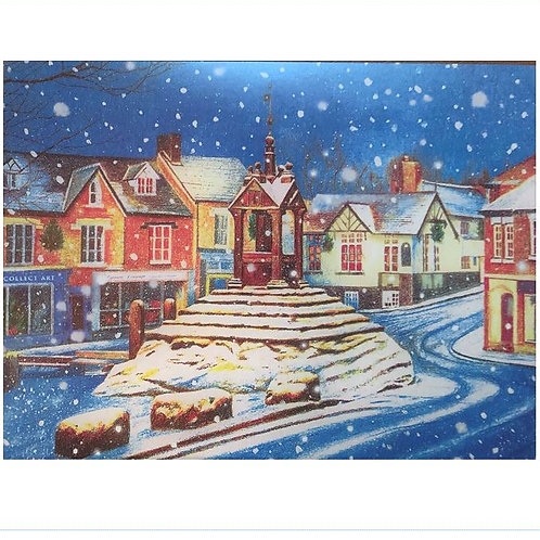 Xmas Card - Lymm Cross in the snow - A5 PACK OF 5