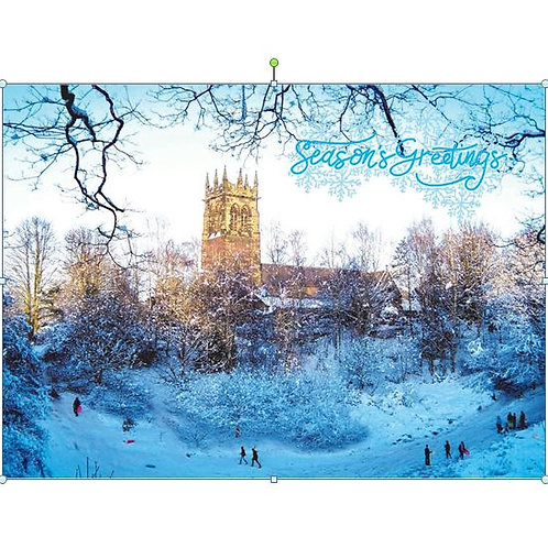 Xmas Card- St Mary's snow scene- Pack of 10
