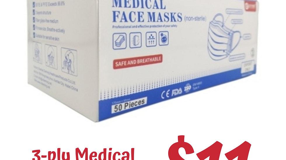 Buy 10 Get 2 : 3ply Medical Grade Masks (Box of 50pcs)