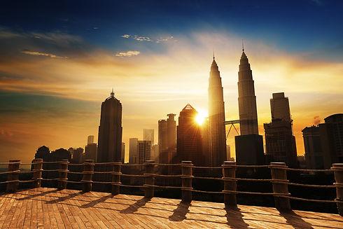 Silhouette of Kuala Lumpur skyline during sunrise at Malaysia, Asia_