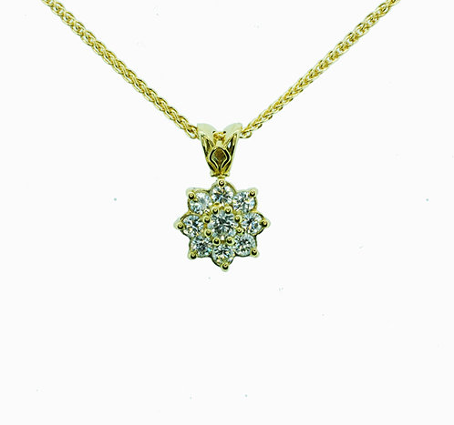 18ct Diamond Cluster Pendant Necklace
