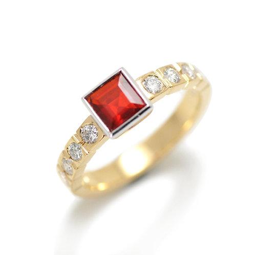 18ct Fire Opal & Diamond Ring