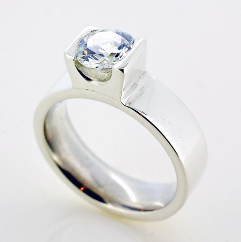 Silver CZ Contemporary Ring