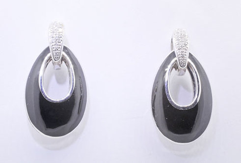 Silver Diamond & Black Enamel Earrings
