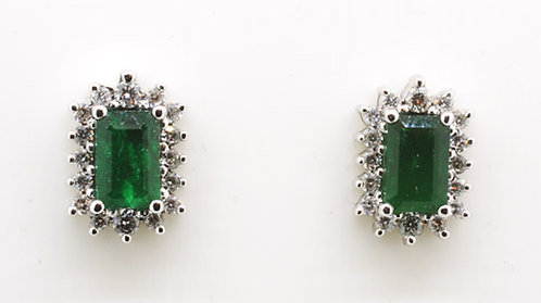 18ct Emerald & Diamond Earrings