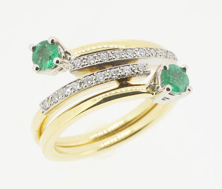 18ct Hand-Made Emerald & Diamond Interlocking Ring