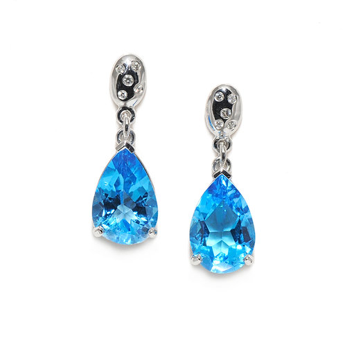 18ct Hand-Made Topaz & Diamond Drop Earrings