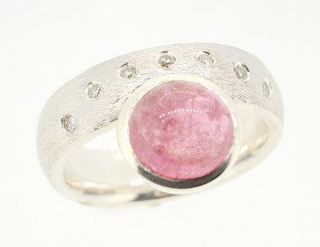 Silver contemporary Gem set Dress Ring