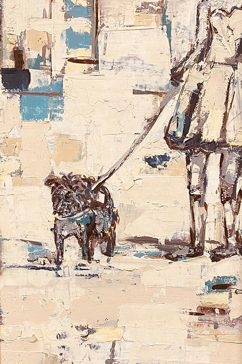 Urban Women Walker (14x30) Mixed Media on Canvas