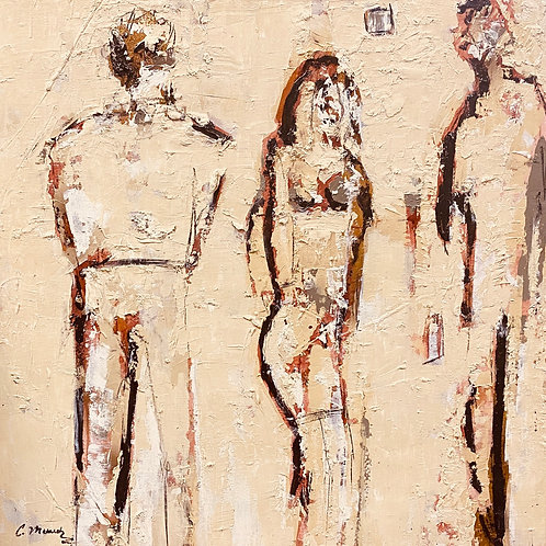 Going to the Party (34x34) Oil Mixed Media on Canvas
