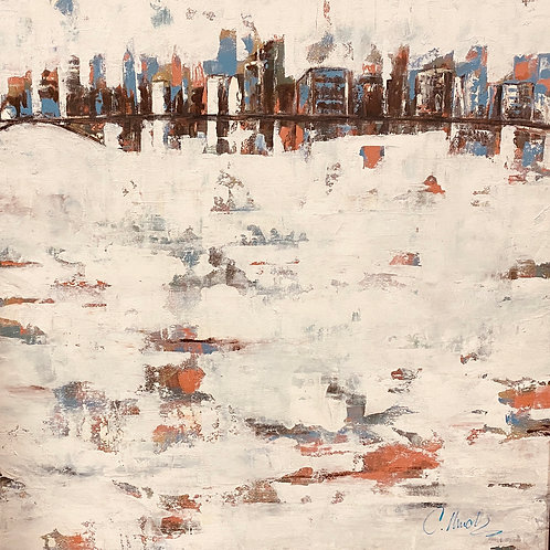 Coral City (36x36) Mix Media on canvas