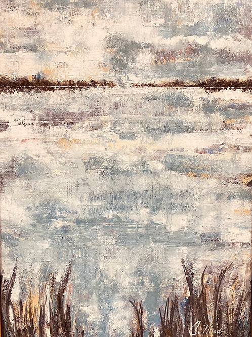 View from the Marsh (34x48) Mixed Media