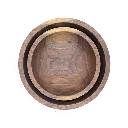 Set of 2 Walnut Bowls