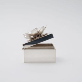 Zilveren doosje met beweegbare bloem