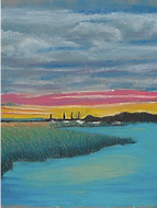 Young artist's acrylic painting of a sunset landscape with grass and water