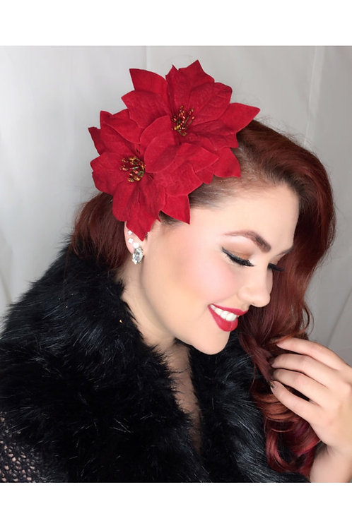 Classic Holiday Pinup double poinsettias