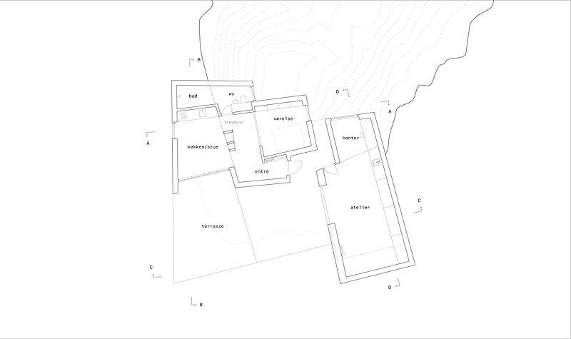 plan af kunstnerbolig og atelier