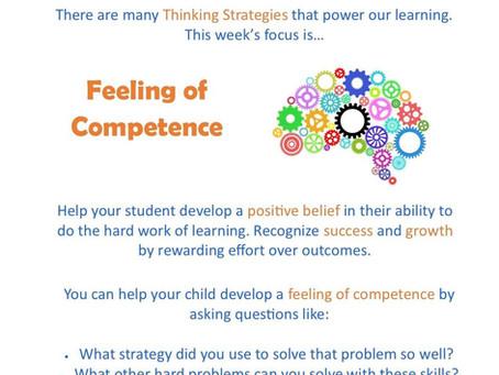 This week's focus: Feelings of Competence