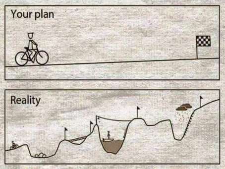 How we think learning a new skill will go versus how it actually goes.