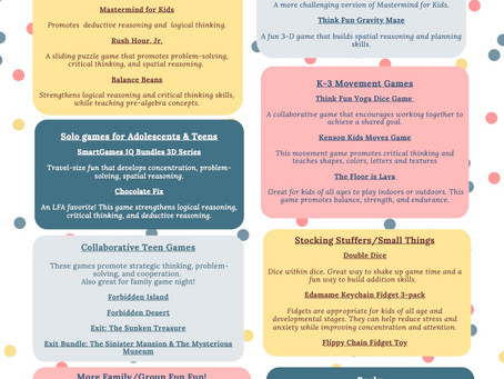 Holiday Gift Ideas to Promote Thinking!
