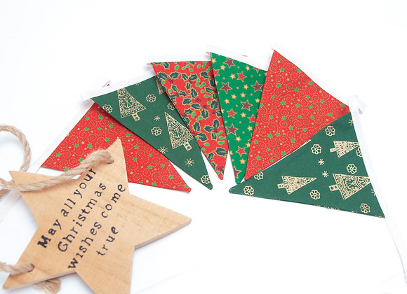 CHRISTMAS Mini Red, Green and gold Bunting Banner